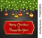 christmas card with fir tree... | Shutterstock .eps vector #776832802