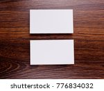 mockup of white business cards...   Shutterstock . vector #776834032