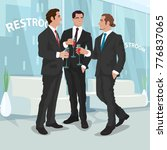 three fashionable men in black... | Shutterstock .eps vector #776837065