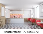 Red Tiles Kitchen Interior With ...