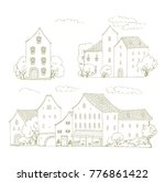 set of vector sketches of old... | Shutterstock .eps vector #776861422