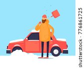 man cleans from the snow car.... | Shutterstock .eps vector #776861725