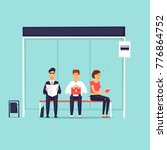 people sitting at the bus stop. ... | Shutterstock .eps vector #776864752