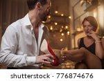 affectionate couple preparing... | Shutterstock . vector #776874676
