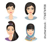 different female hairstyles.... | Shutterstock .eps vector #776876908