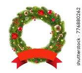 wreath with ribbon with... | Shutterstock .eps vector #776880262
