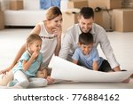 happy family studying project... | Shutterstock . vector #776884162