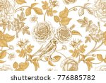 Stock vector golden roses flowers leaves and berries of dog rose bird on branches on white background 776885782