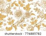 golden roses  flowers  leaves... | Shutterstock .eps vector #776885782