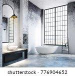 light loft bathroom interior... | Shutterstock . vector #776904652
