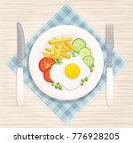 a hearty breakfast of fried... | Shutterstock .eps vector #776928205
