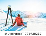 skier athlete sitting in alpes... | Shutterstock . vector #776928292