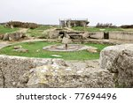 world war two cannon facility by omaha beach - stock photo