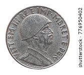 Small photo of Old Albanian 1 Lek coin with Victor Emmanuel III King and Emperor (Vittorio Emanuele III Re e Imperatore in Italian), circa 1939 isolated over white background