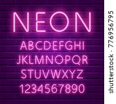 neon font  80s text letter glow ... | Shutterstock .eps vector #776956795