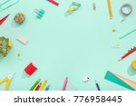 notebook  note  pen  paper clip ... | Shutterstock . vector #776958445