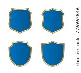 gold blue shield shape icons... | Shutterstock . vector #776962846