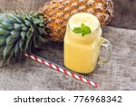 pineapple smoothie with fresh... | Shutterstock . vector #776968342