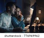happy couple connecting online... | Shutterstock . vector #776969962
