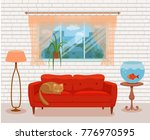 living room cozy interior with... | Shutterstock .eps vector #776970595