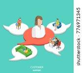 customer support flat isometric ... | Shutterstock .eps vector #776971345