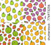 cute fruit and berry set... | Shutterstock .eps vector #776973256