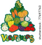 funny pyramid vegetables with... | Shutterstock .eps vector #77697763
