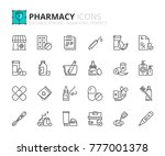 outline icons about pharmacy.... | Shutterstock .eps vector #777001378