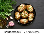 stuffed potatoes with bacon ... | Shutterstock . vector #777003298