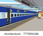 indian railway mail train | Shutterstock .eps vector #777004186