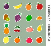 fruit symbols set of stickers... | Shutterstock . vector #777008566