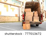 open car trunk with moving... | Shutterstock . vector #777013672