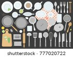 vector set. kitchen utensils.... | Shutterstock .eps vector #777020722