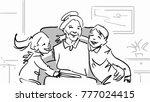 grandchildren and granny. a boy ... | Shutterstock .eps vector #777024415