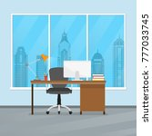 office desk or table with chair ... | Shutterstock .eps vector #777033745
