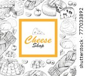 vector background with cheese...   Shutterstock .eps vector #777033892