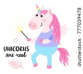 cute magical unicorn with magic ... | Shutterstock .eps vector #777039478