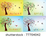 four seasons card with tree and ... | Shutterstock .eps vector #77704042