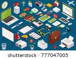 big set of isometric volumetric ... | Shutterstock . vector #777047005