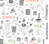 coffee and tea restaurant hand... | Shutterstock .eps vector #777048532