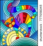 illustration in stained glass... | Shutterstock .eps vector #777058345