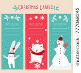 christmas labels and decoration ... | Shutterstock .eps vector #777068242