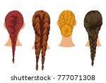 braids hair vector cartoon set... | Shutterstock .eps vector #777071308