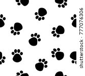 abstract dog paw seamless... | Shutterstock . vector #777076306