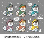 collection of cute siberian... | Shutterstock .eps vector #777080056