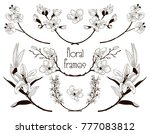 black hand drawn floral text... | Shutterstock .eps vector #777083812