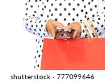 young woman hand holding... | Shutterstock . vector #777099646