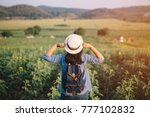 asian woman traveler with... | Shutterstock . vector #777102832