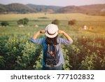 asian woman traveler with... | Shutterstock . vector #777102832