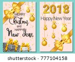a set of two new year greeting... | Shutterstock .eps vector #777104158